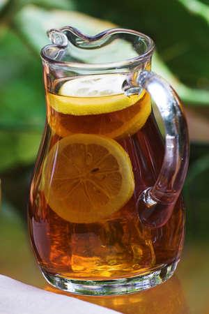 pitcher of lemon iced tea Stock Photo