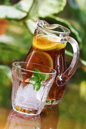 iced tea with glass photo