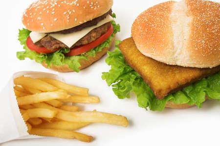 fishburger とハンバーガーとポテト 写真素材