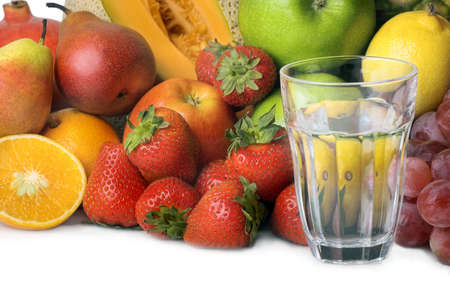 red water: glass of water and fruit
