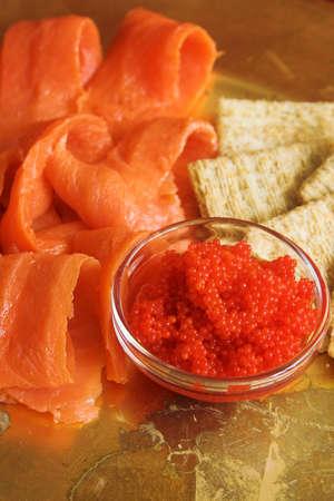 rode kaviaar en gerookte zalm