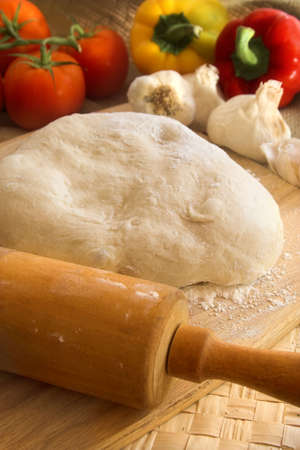 ingredient: pizza dough and ingredients