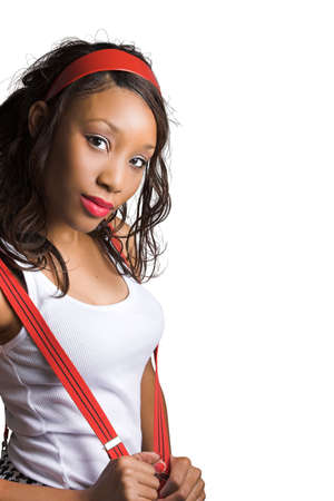 wifebeater: beautiful girl with suspenders
