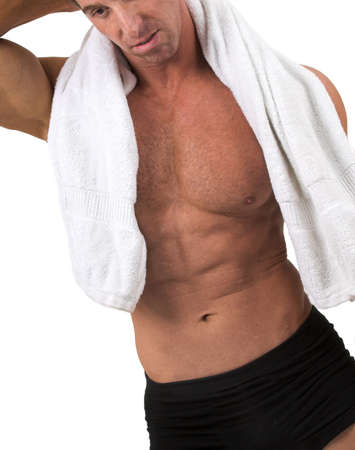 muscular man with towel photo