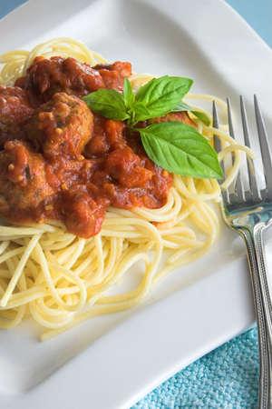 Spaghetti and meatballs photo