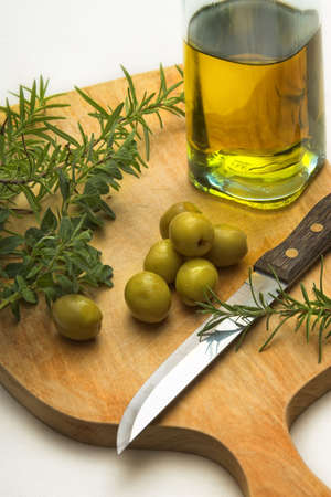 cooking oil: cooking herbs and oil Stock Photo
