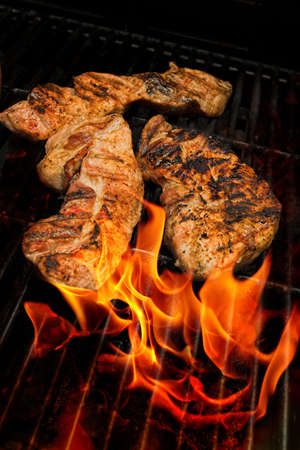 meats: barbecue meats on grill
