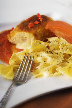 cordon blue with pasta and sauce Stock Photo - 3317551