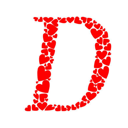 A letter D heart isolated on plain background.