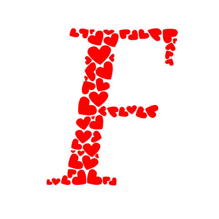 Letter f shaped with hearts