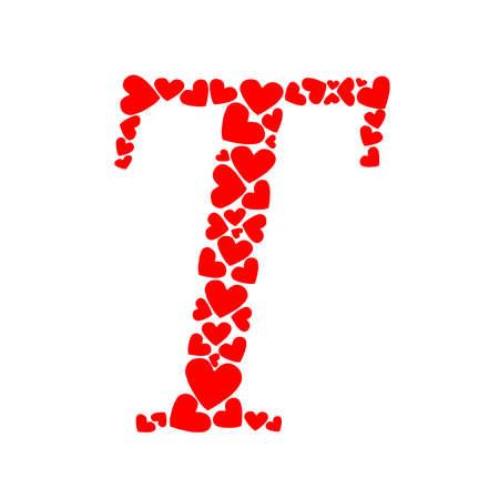 letter T heart design Illustration