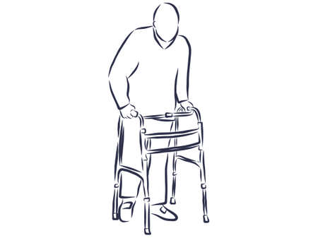 Elderly man with a walker Иллюстрация
