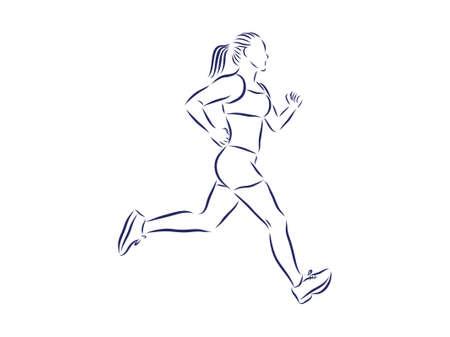 Runner girl, contour illustration Illustration