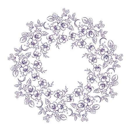 Flower frame wreath, outline vector illustration
