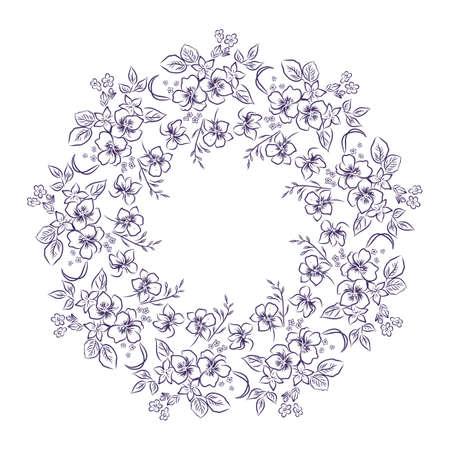 Flower frame wreath, outline vector illustration Illustration