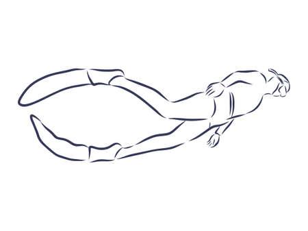 Diver contour illustration Çizim