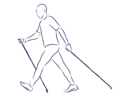 Nordic walking, outline illustration Vektorové ilustrace