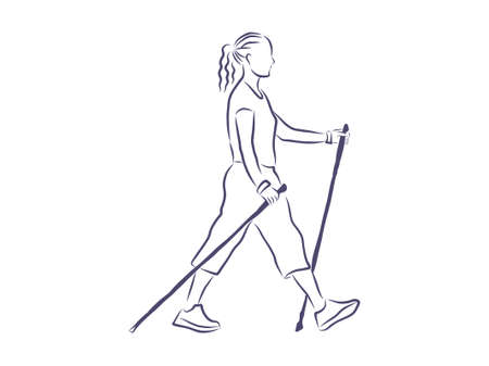 Nordic walking, outline illustration Stock Illustratie