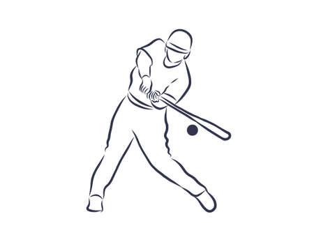 Baseball player outline illustration