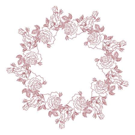 Flower circle, contour vector illustration.