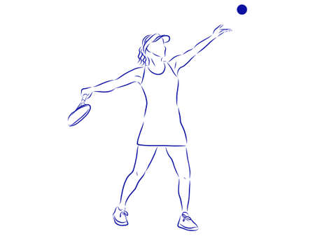 Girl tennis player, contour vector illustration.