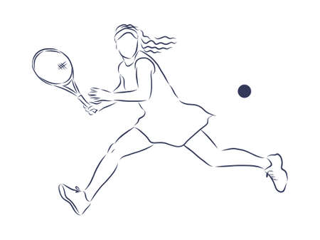Sketch tennis player, contour vector illustration.