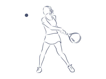 Tennis player, contour vector illustration.