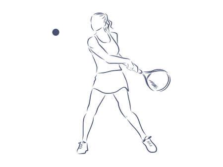 Tennis player, contour vector illustration.
