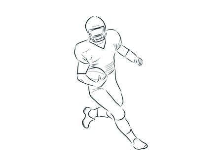 American football player, outline illustration Illustration
