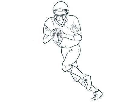 American football player, outline illustration Illustration