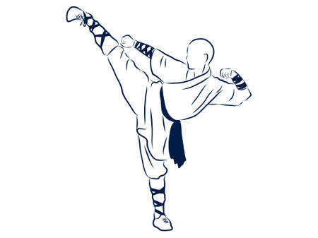 Kung Fu Fighter, contour illustration Illustration