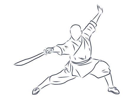 Kung Fu Fighter, contour illustration