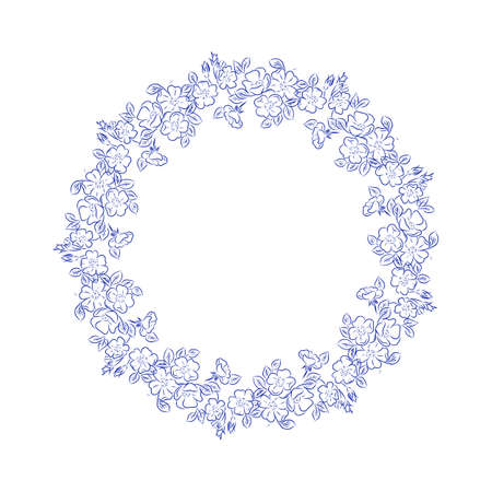 Floral round decor 向量圖像