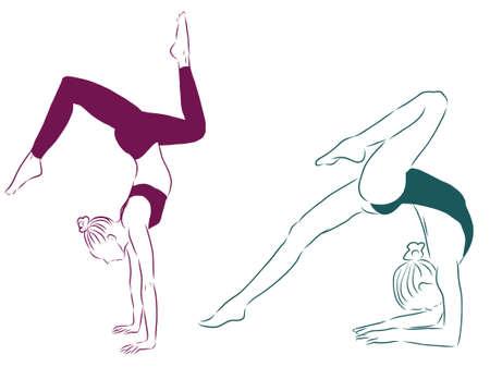 Gymnasts contour illustration Vecteurs