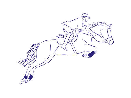 Jumping, dressage horses Stock Illustratie
