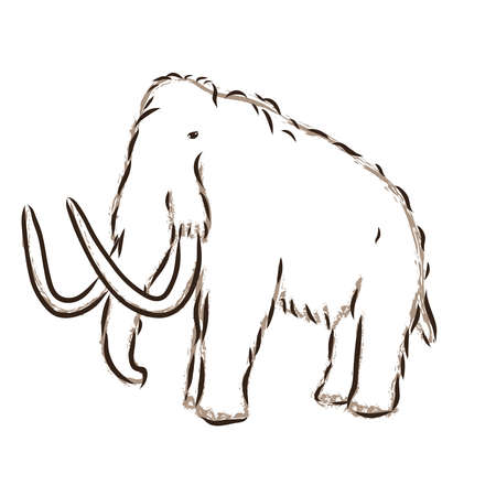 One continuous line drawing of big mammoth company logo identity. Prehistoric animal from ice age icon concept. Single line draw design illustration