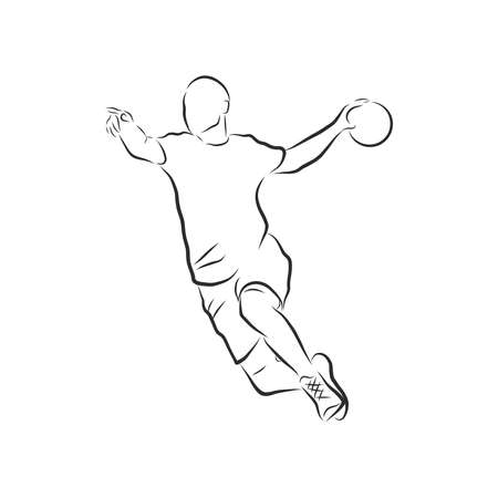 illustration of man playing handball . black and white drawing, white background