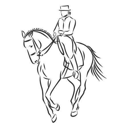 A sketch of a dressage rider on a horse executing the half pass. Stock fotó - 136138450