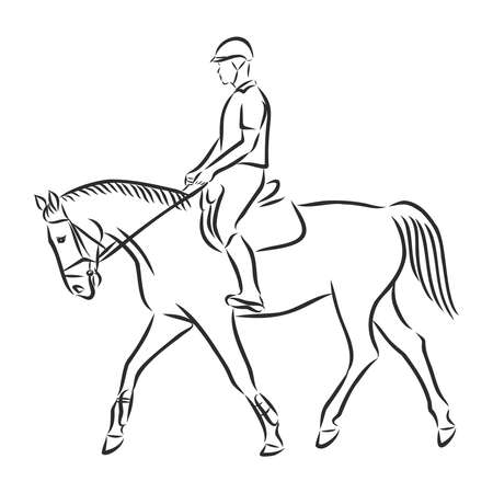 A sketch of a dressage rider on a horse executing the half pass. Stock fotó - 136138452