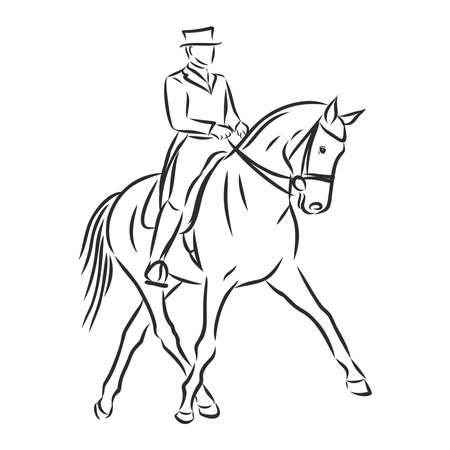A sketch of a dressage rider on a horse executing the half pass.