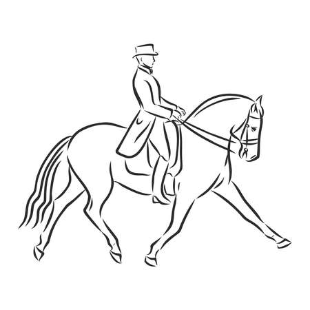 A sketch of a dressage rider on a horse executing the half pass. Stock fotó - 136138705