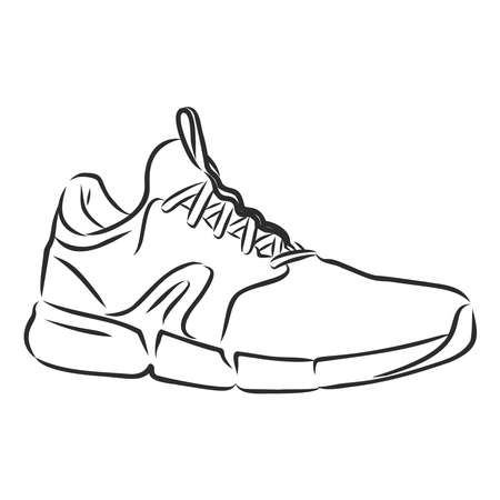Sneakers outline drawing. Black lines of sport shoe on white background.