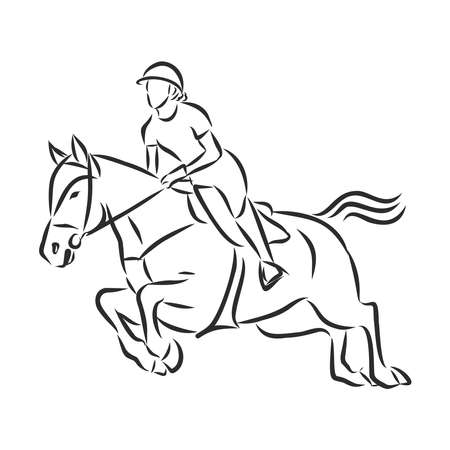 jumping horse,black white picture isolated on white background,vector illustration Векторная Иллюстрация