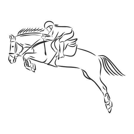 Caballo de salto, imagen en blanco y negro aislado sobre fondo blanco, ilustración vectorial
