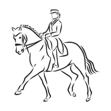 A sketch of a dressage rider on a horse executing the half pass. Stock fotó - 136138709