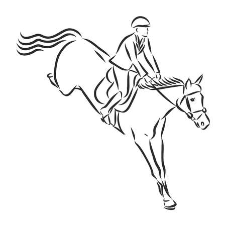 jumping horse,black white picture isolated on white background,vector illustration Stock fotó - 136138706