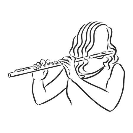 Flötenflötist Illustration, Zeichnung, Vektor