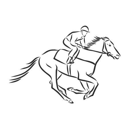 Vector illustration of a racing horse and jockey Stock fotó - 136138717