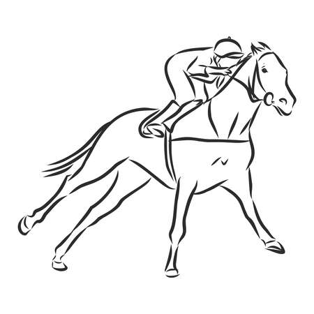 Vector illustration of a racing horse and jockey 일러스트