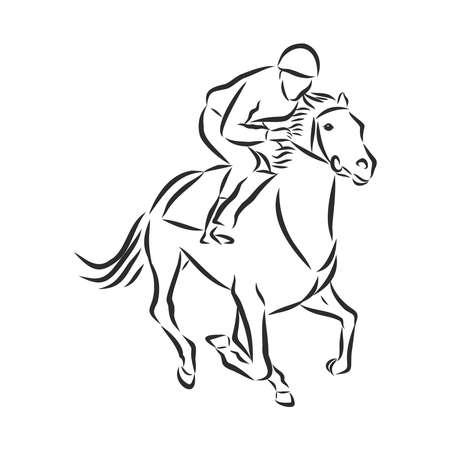 Vector illustration of a racing horse and jockey Stock fotó - 136138715